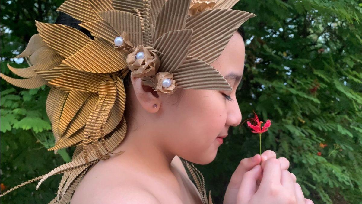 Balikbayan box dress- Agatha's headpiece