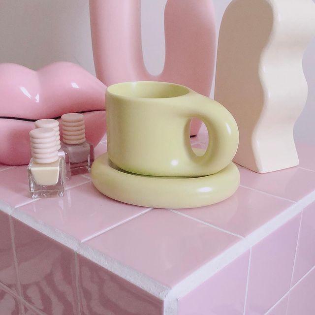 bagel mug and coaster from Rotten Mermaid Studio in matcha