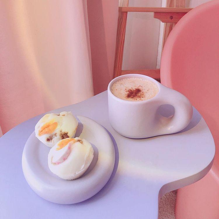 bagel mug and coaster from Rotten Mermaid Studio in taro purple