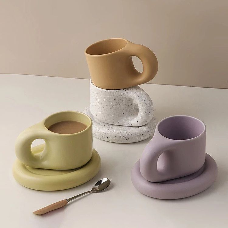 bagel mug and coaster from Rotten Mermaid Studio, available in five colors