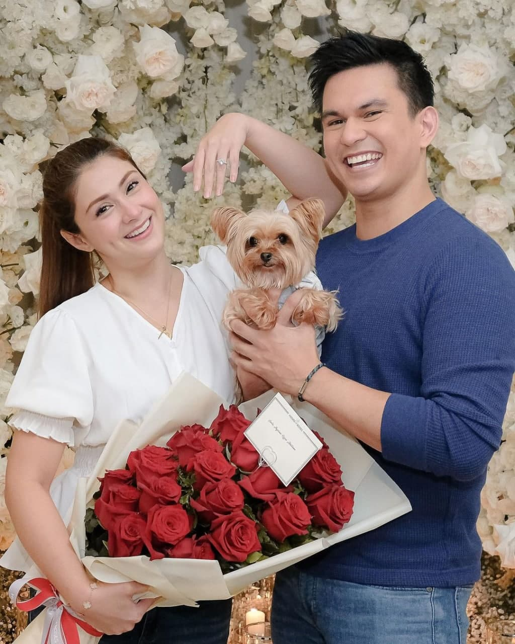 Carla Abellana with Tom Rodriguez and their pet dog.