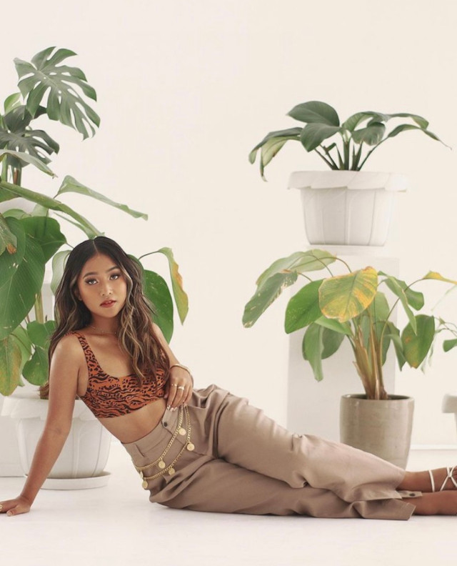 Beige and brown outfit: Ry Velasco