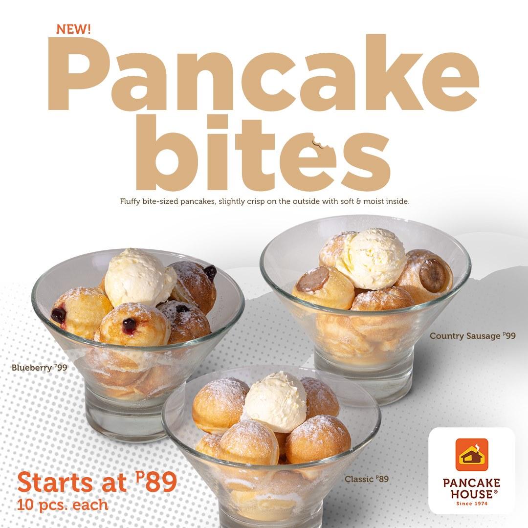 pancake bites from Pancake House: blueberry pancakes, classic pancakes, and country sausage pancakes