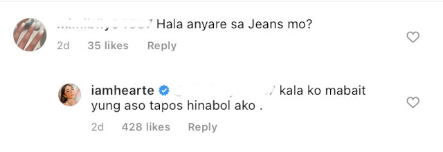 Heart Evangelista's reply to IG comment about her ripped jeans