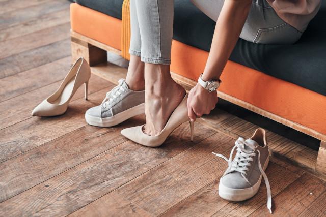 sneakers, high heels
