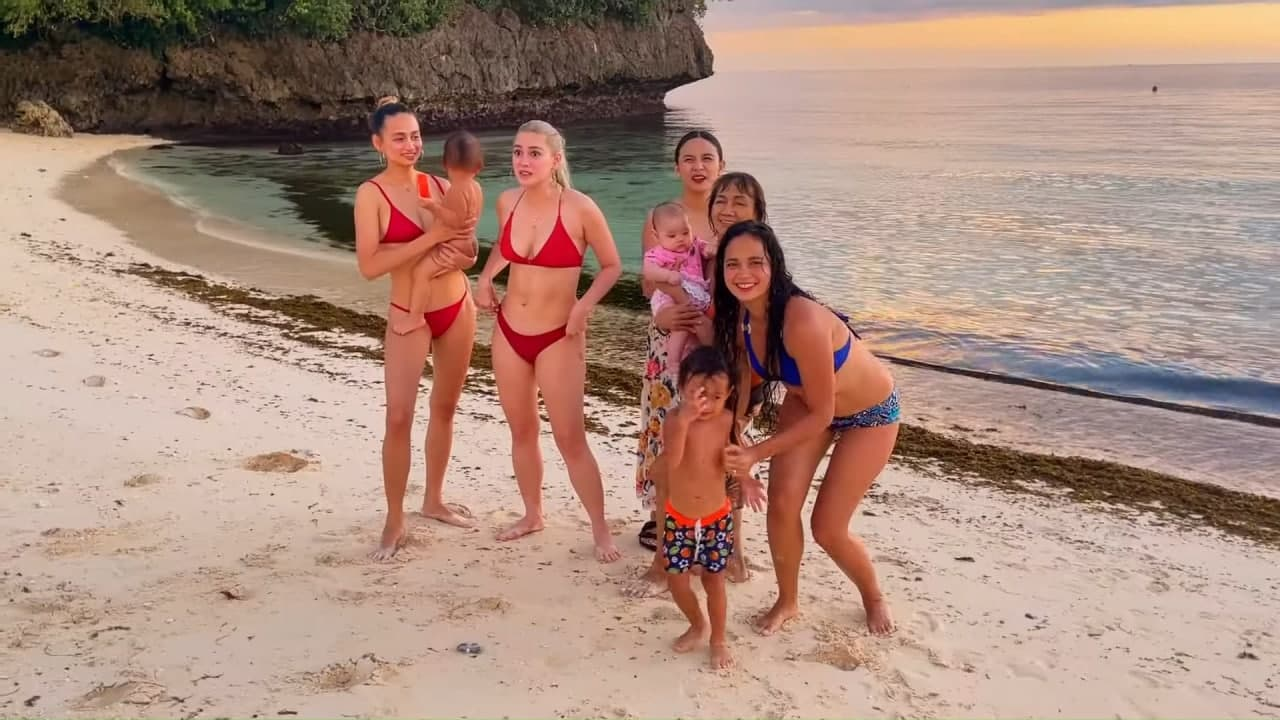 Arci Munoz and family hanging out by the beach
