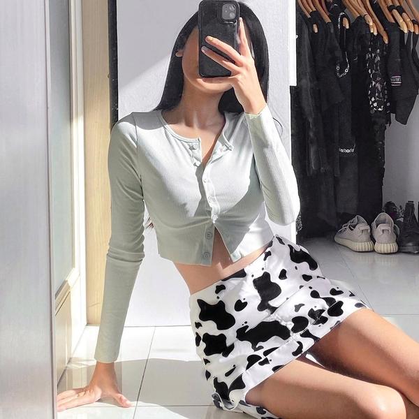 Light gray cardigan + cow print skirt