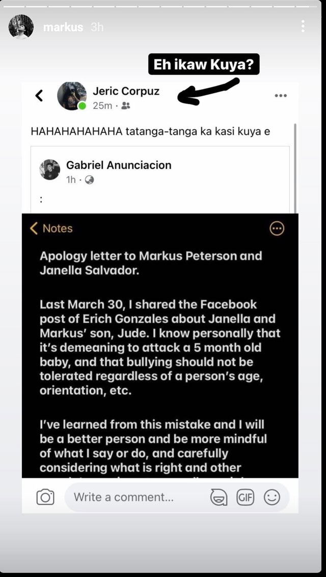 Markus calling out another basher