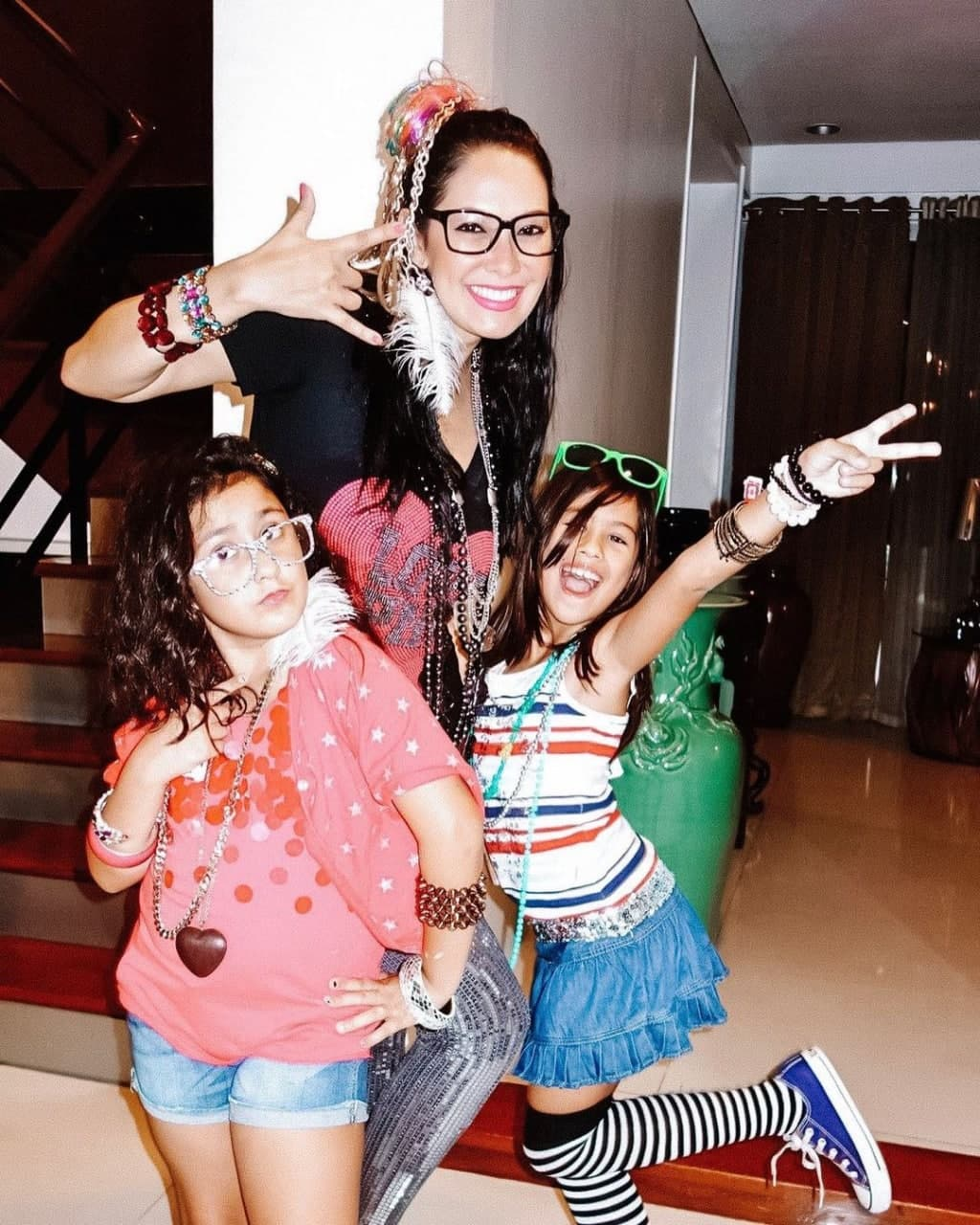 Ruffa and her daughters having a themed party