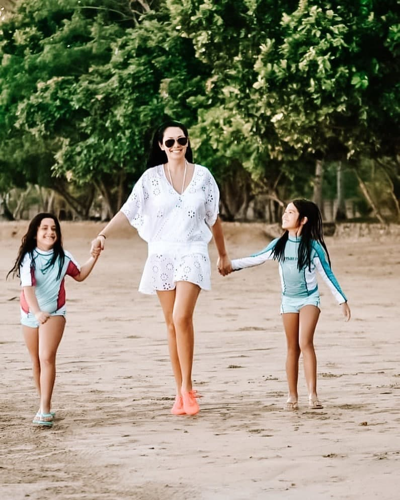 Ruffa and her daughters taking a stroll by the beach