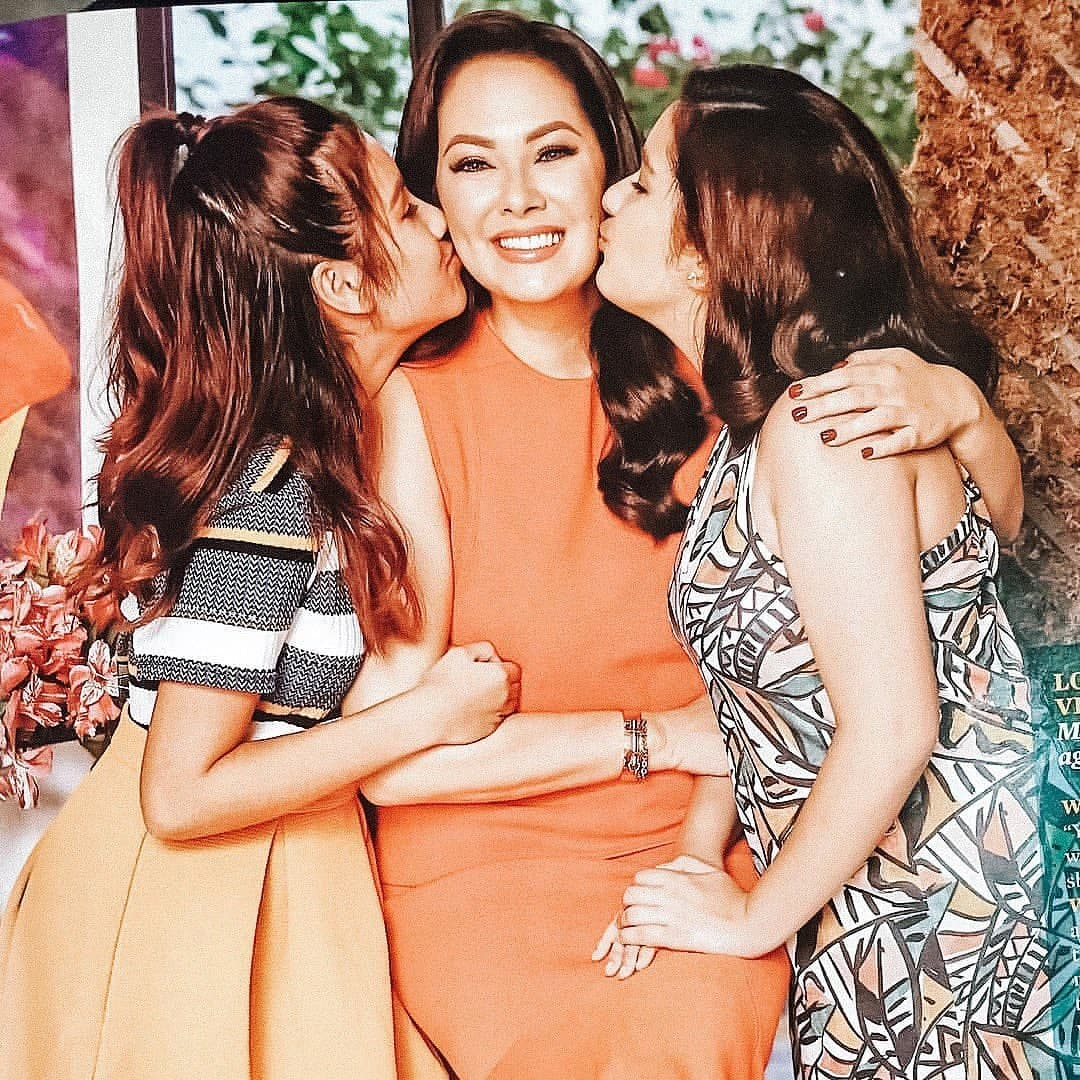 Ruffa getting a kiss from both her daughters