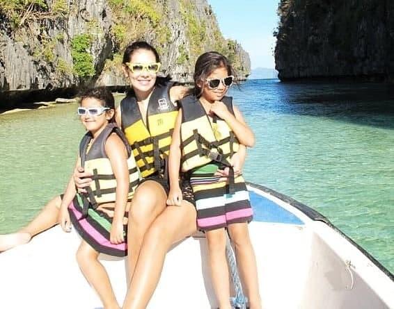 Ruffa and her daughters in Palawan