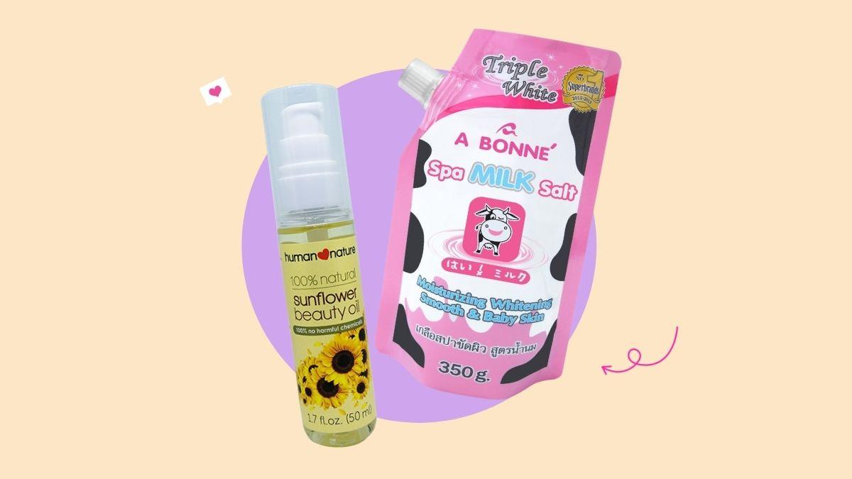 a bonne spa milk salt + sunflower oil DIY scrub