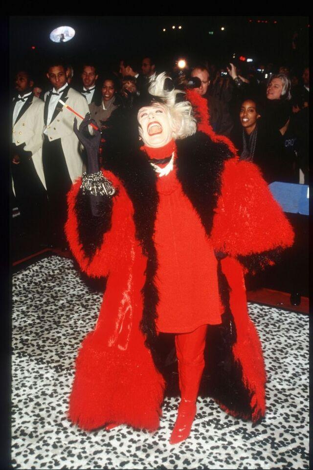 Glenn Close as Cruella de Vil at the 1996 premiere of 101 Dalmatians