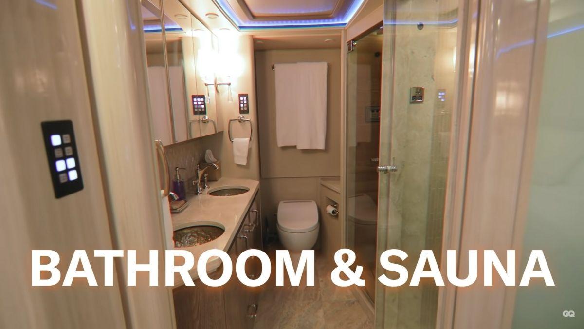 Inside Justin Bieber's tour bus: bathroom and sauna