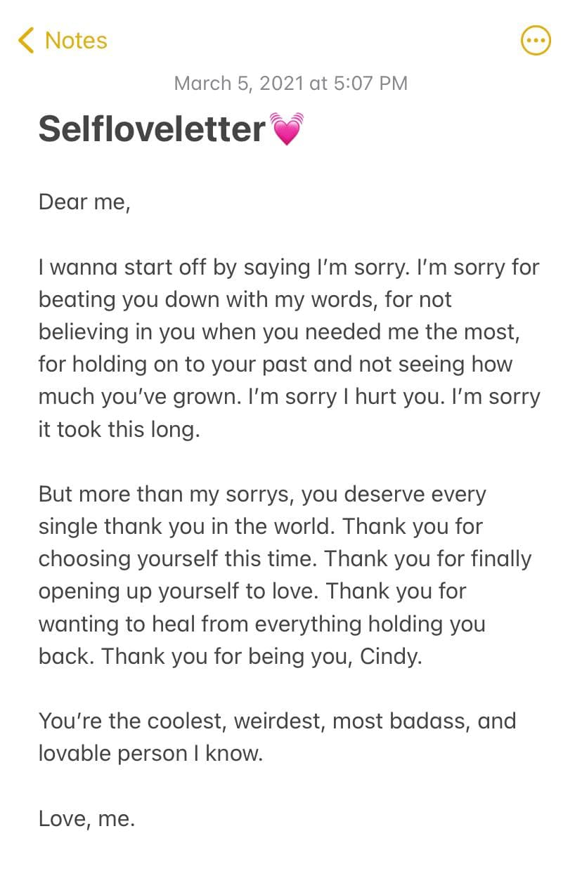brb taking a break: therapy, self-love letter