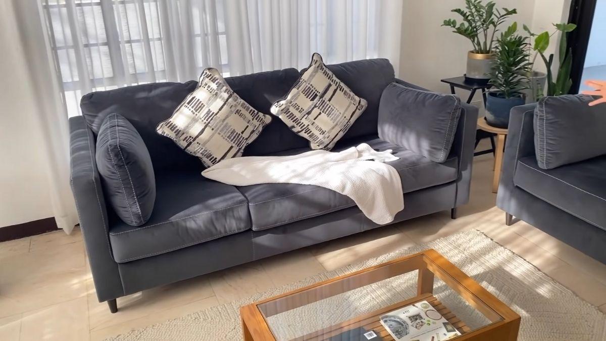Bea Fabregas house tour 2021: navy blue couch