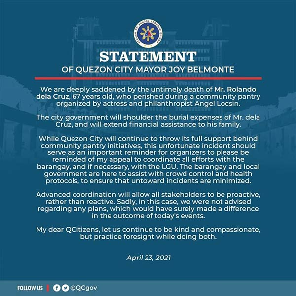 Official Statement of the Quezon City LGU in support of community pantries across the city.