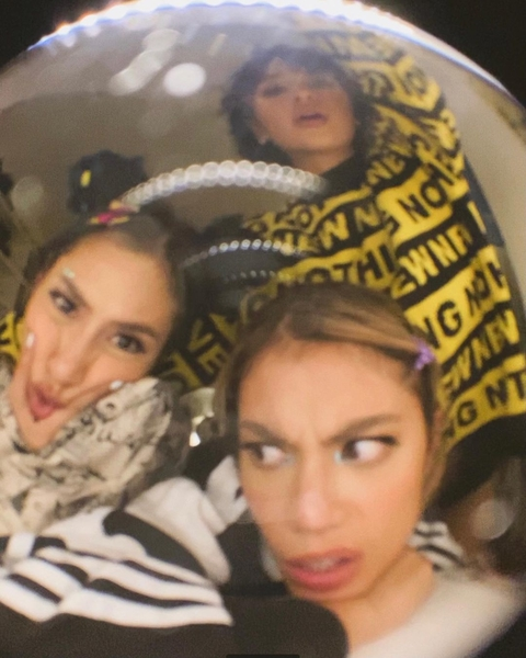 A fish-eye shot of Keiko and friends