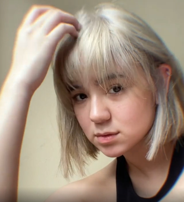 Mikee Quintos with blonde bob haircut with bangs