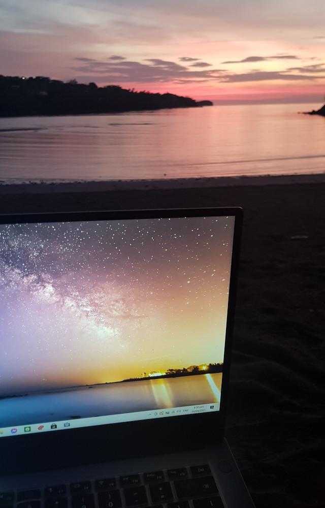 laptop, beach