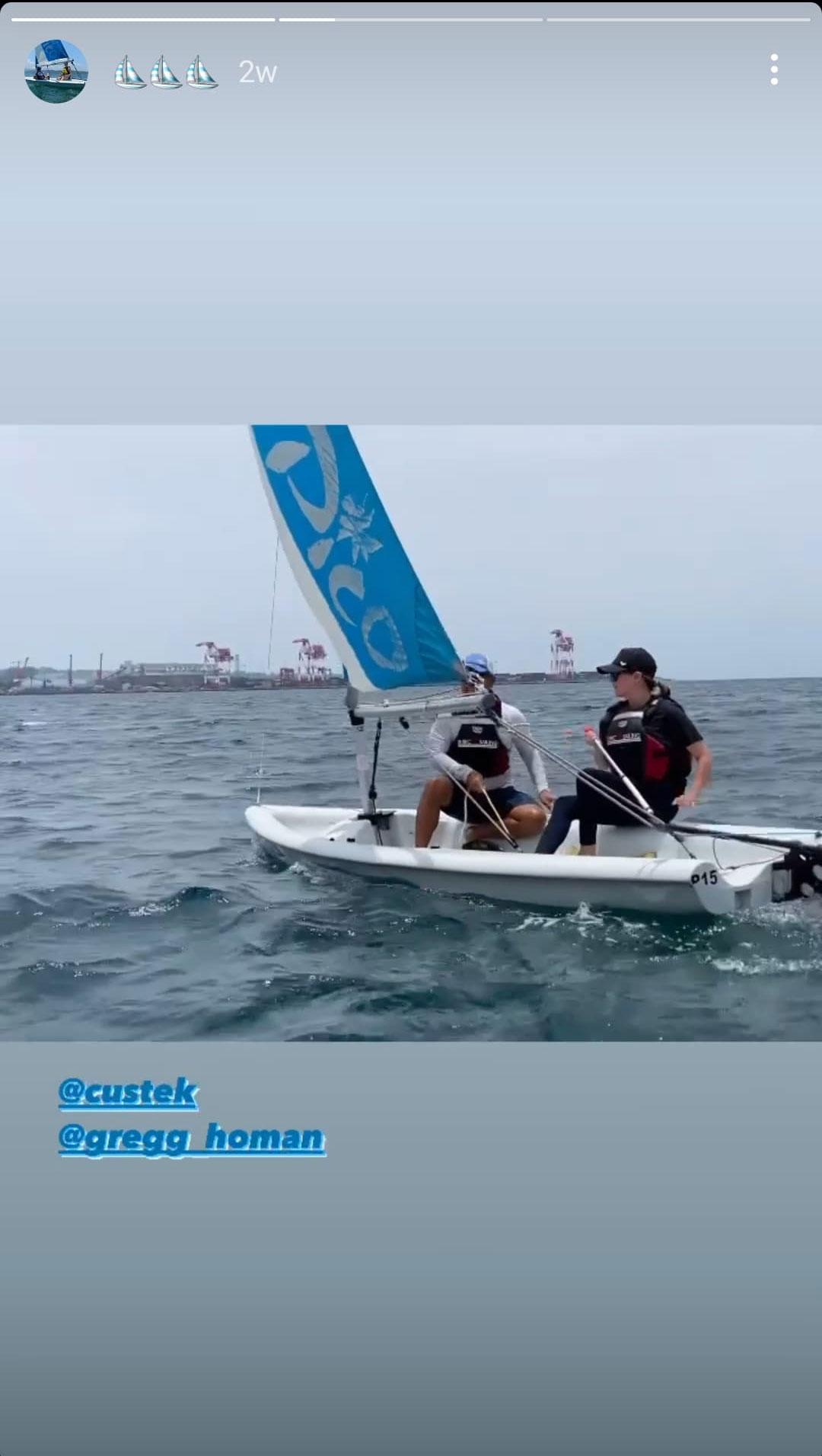 Gregg and Angelica Panganiban on a sailboat