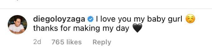 Diego Loyzaga's reply to Barbie's post.