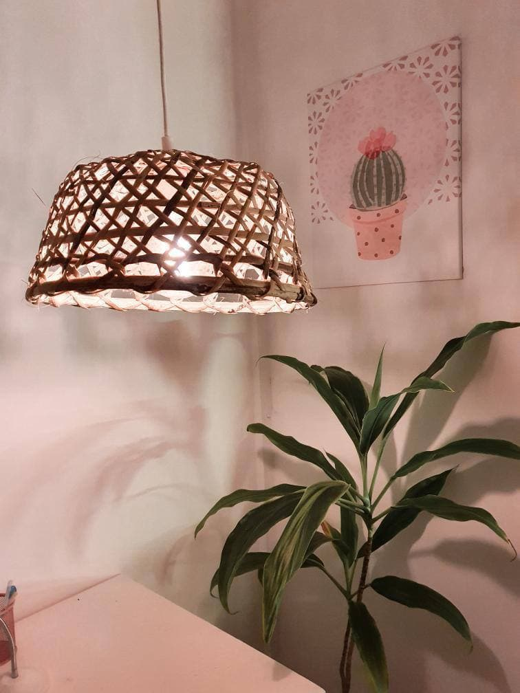 DIY room makeover - pendant light and plant