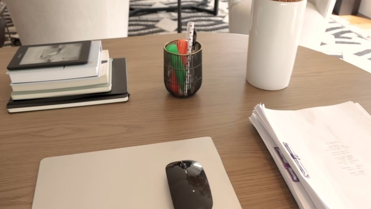 Julia Barretto home office tour - desk with office supplies