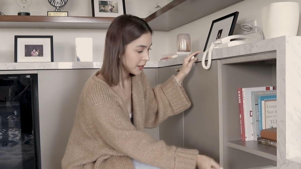 Julia Barretto home office tour - book storage