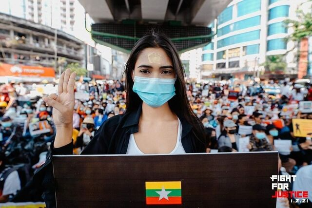 miss universe myanmar Candy Thuzar street protest
