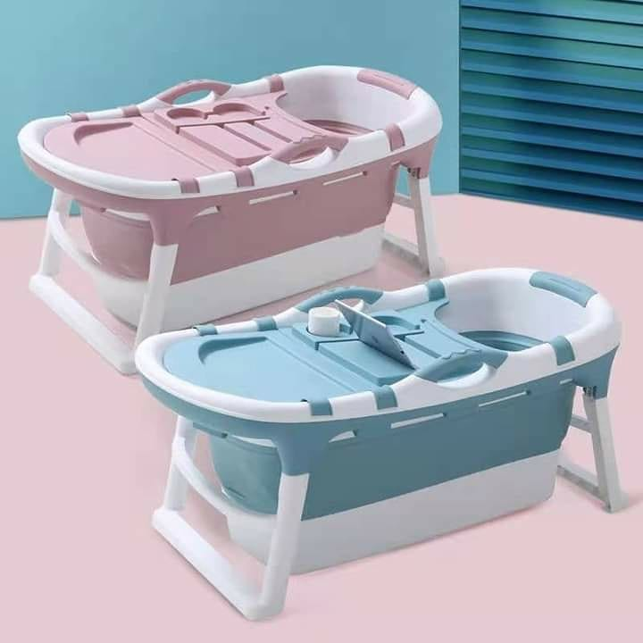 portable bath tub in blue and pink