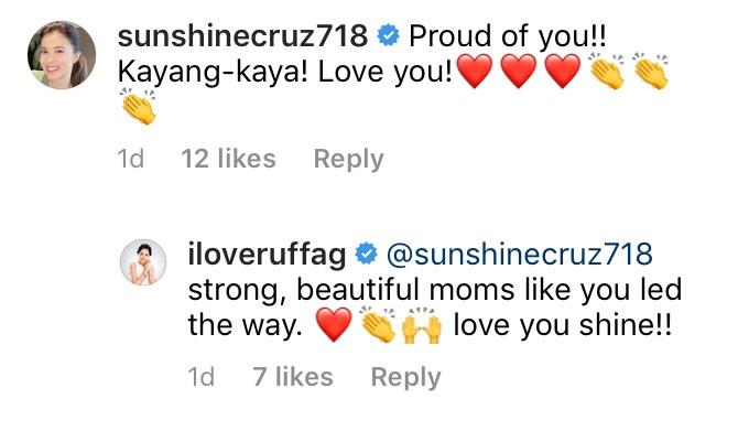 Sunshine Cruz comments on Ruffa Guiterrez's Instagram Post