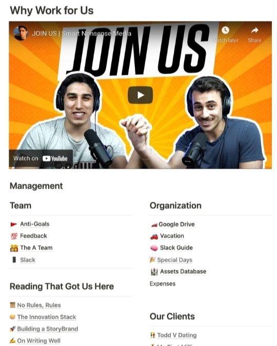 notion - productivity app, work homepage
