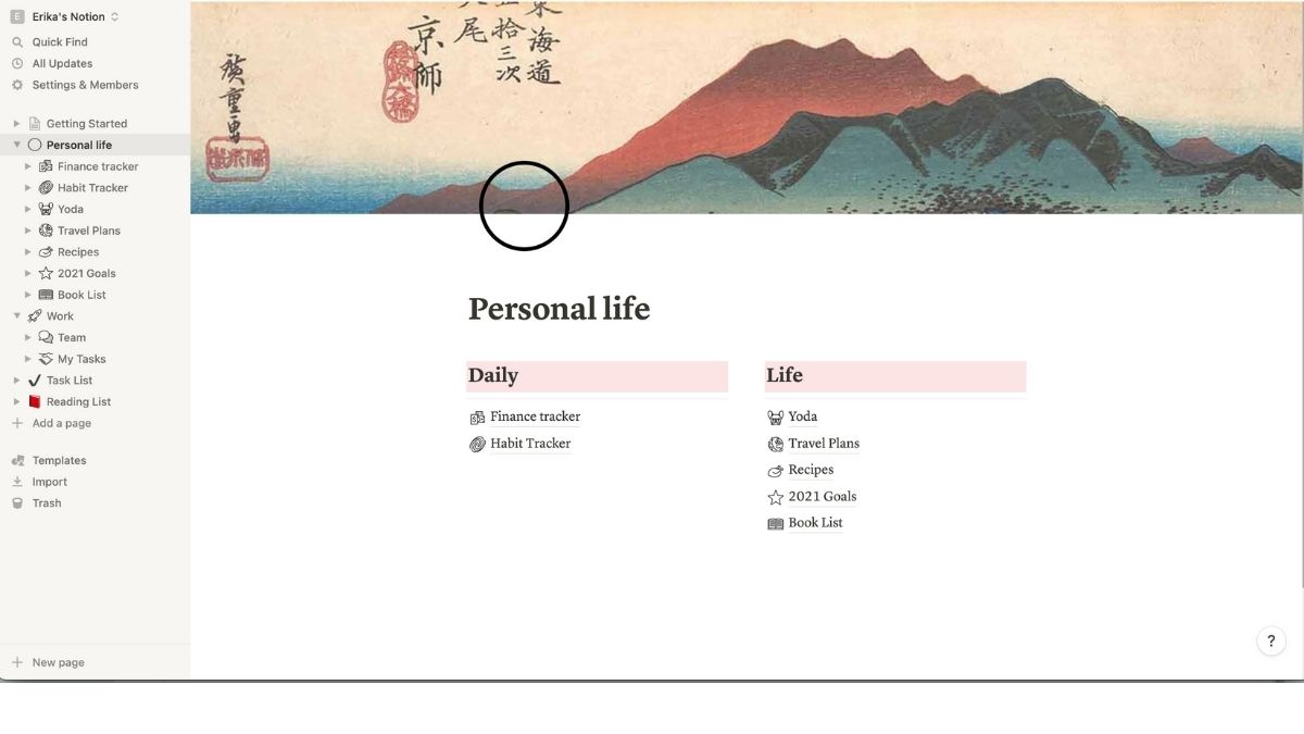 notion - productivity app, personal homepage