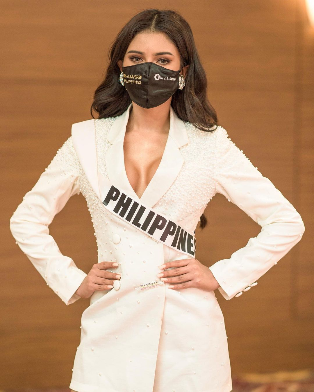Rabiya Mateo posing during one of her closed-door interviews for the 2020 Miss Universe Pageant
