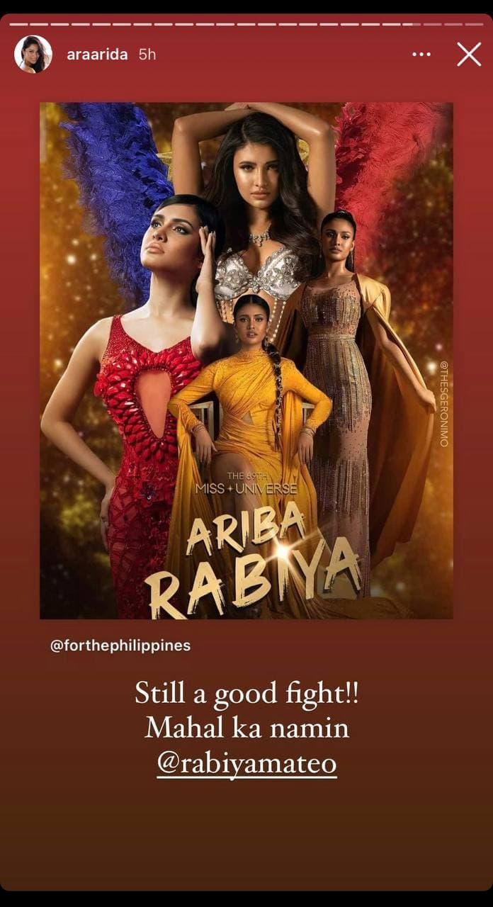 Ariella Arida's post-pageant IG post for Rabiya Mateo