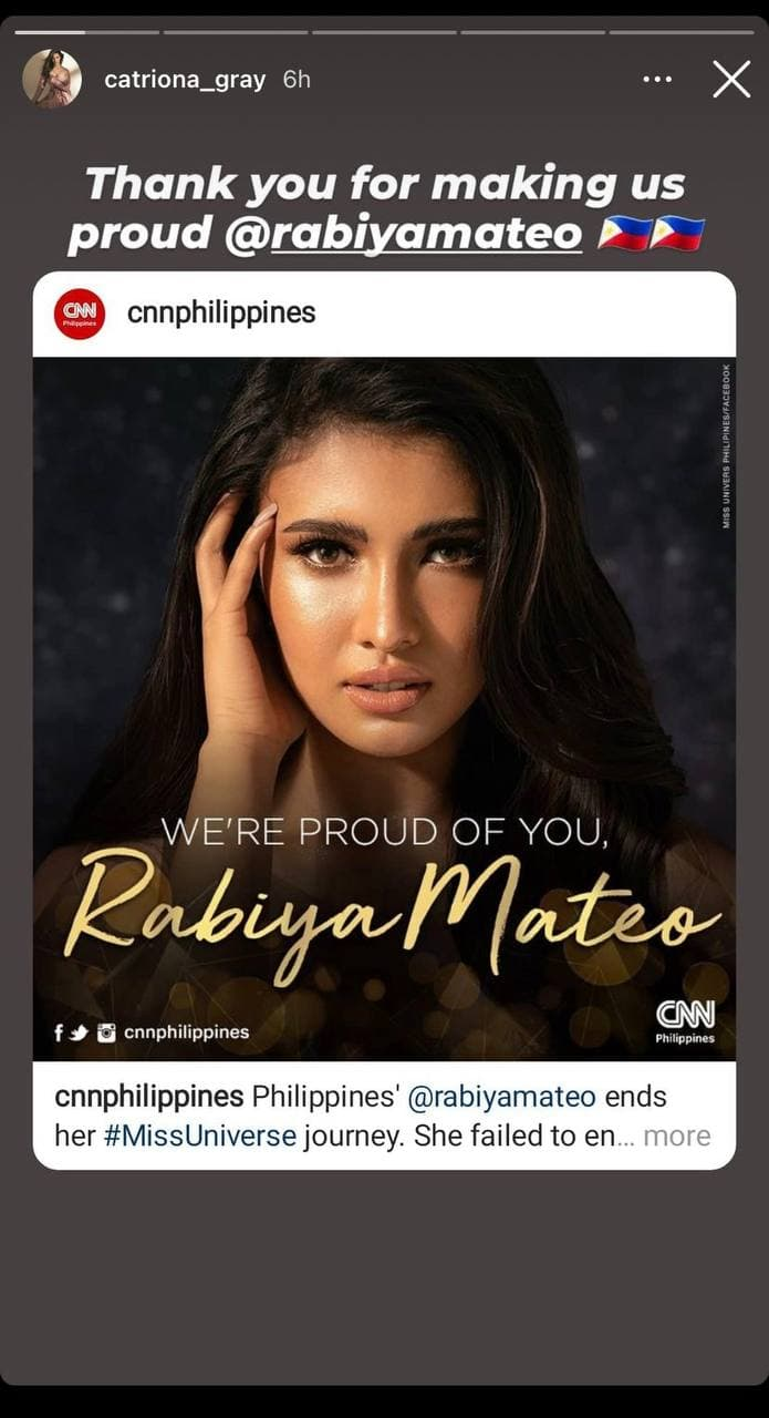 Catriona Gray's post-pageant IG post for Rabiya Mateo