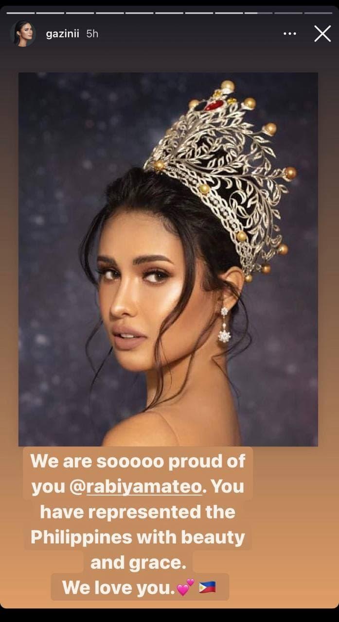 Gazini Ganados' post-pageant IG post for Rabiya Mateo
