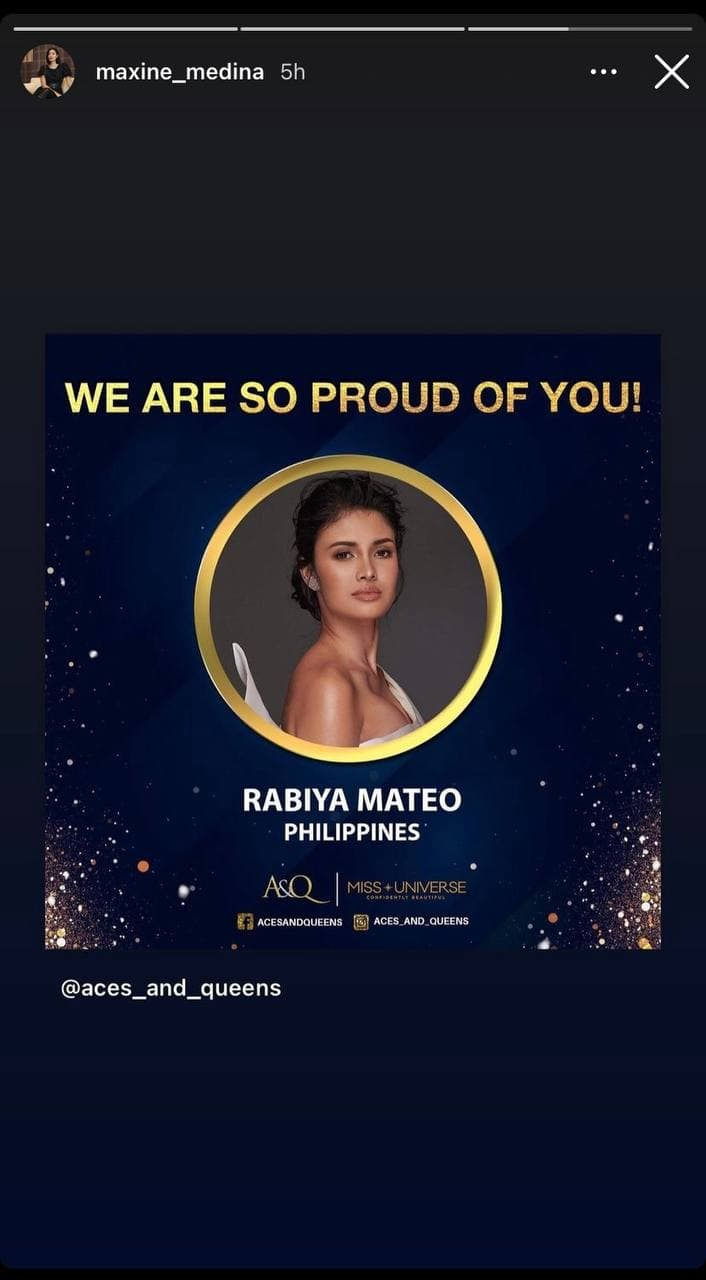 Maxine Medina's post-pageant IG post for Rabiya Mateo