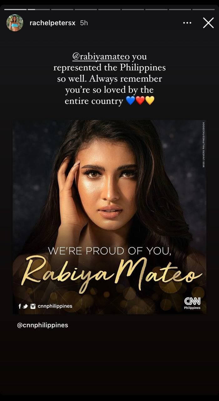 Rachel Peters' post-pageant IG post for Rabiya Mateo