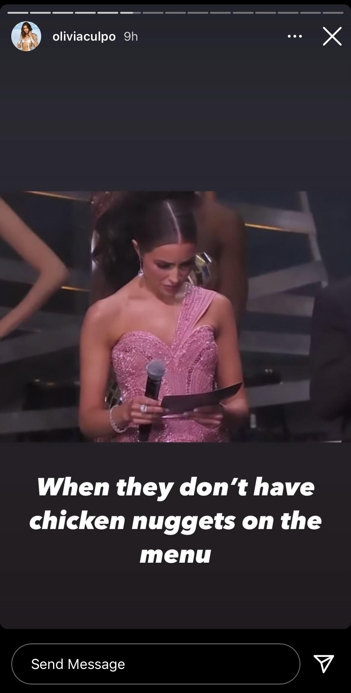 Olivia Culpo creating a meme out of herself about chicken nuggets