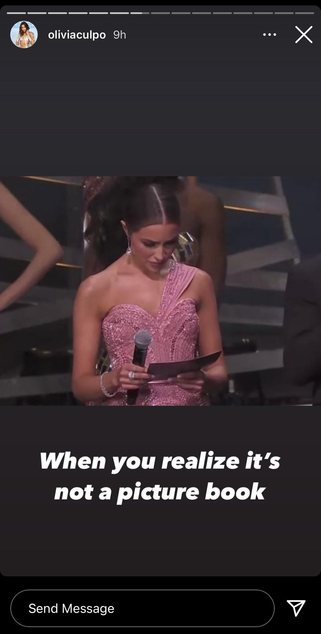 Olivia Culpo creating a meme out of herself about picture books