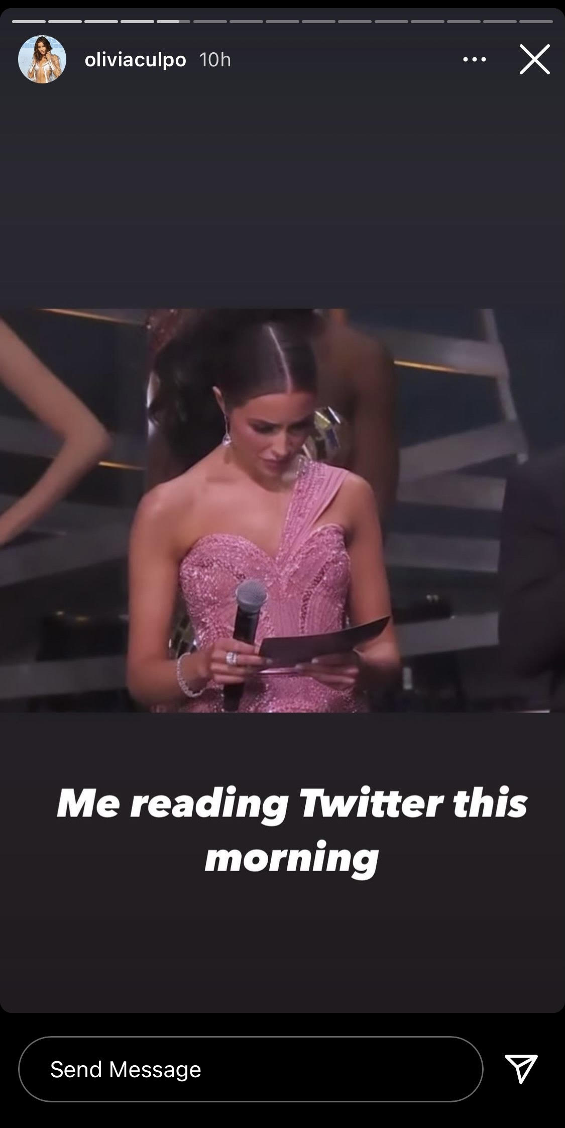 Olivia Culpo creating a meme out of herself about Twitter