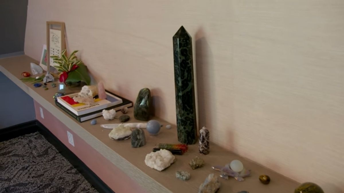 Bretman Rock's collection of crystals in attic