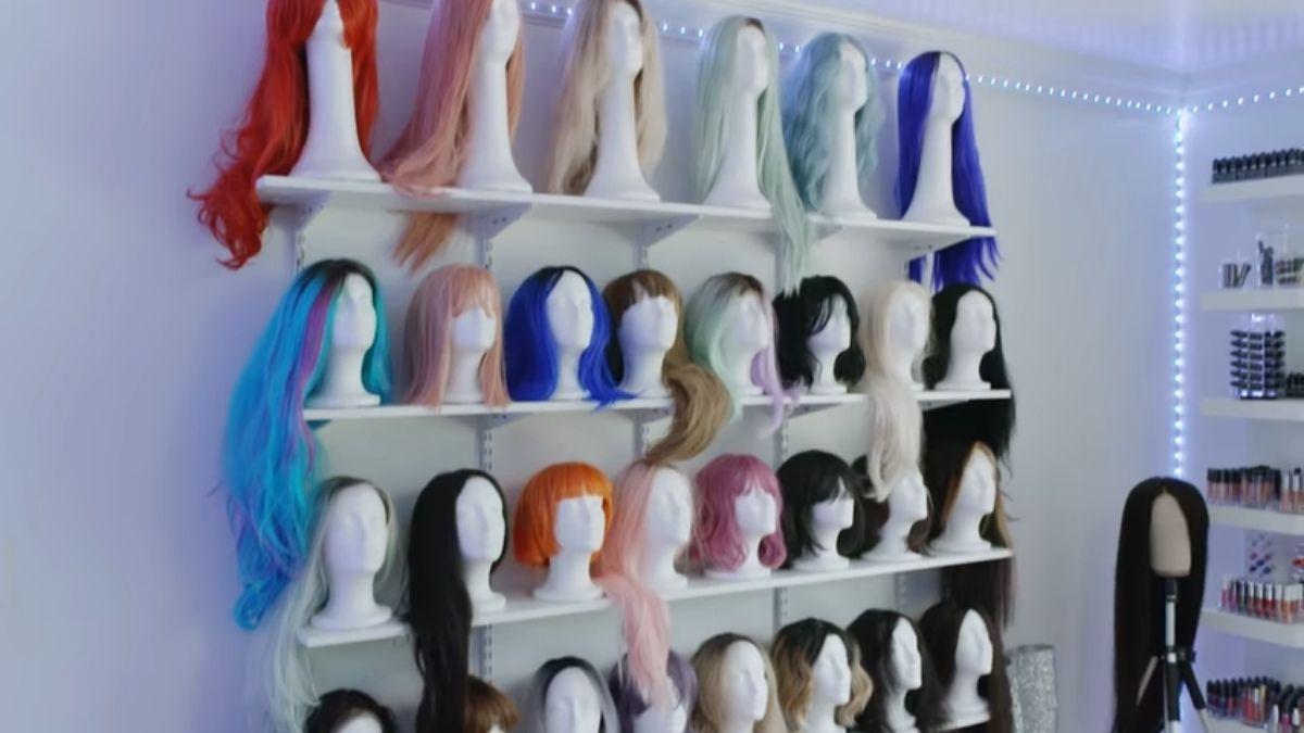 Bretman Rock house tour - wig wall