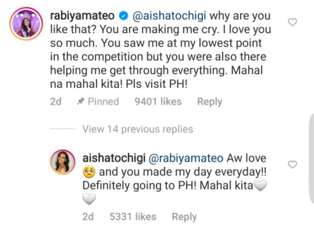 Rabiya Mateo and Miss Universe Japan, Aisha Tochigi's exchange on Instagram