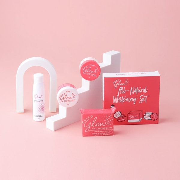 All-Natural Whitening Set - Includes a 4-in-1 Whitening Soap, a Clarifying Toner, a Sunscreen Cream, and a Whitening Cream