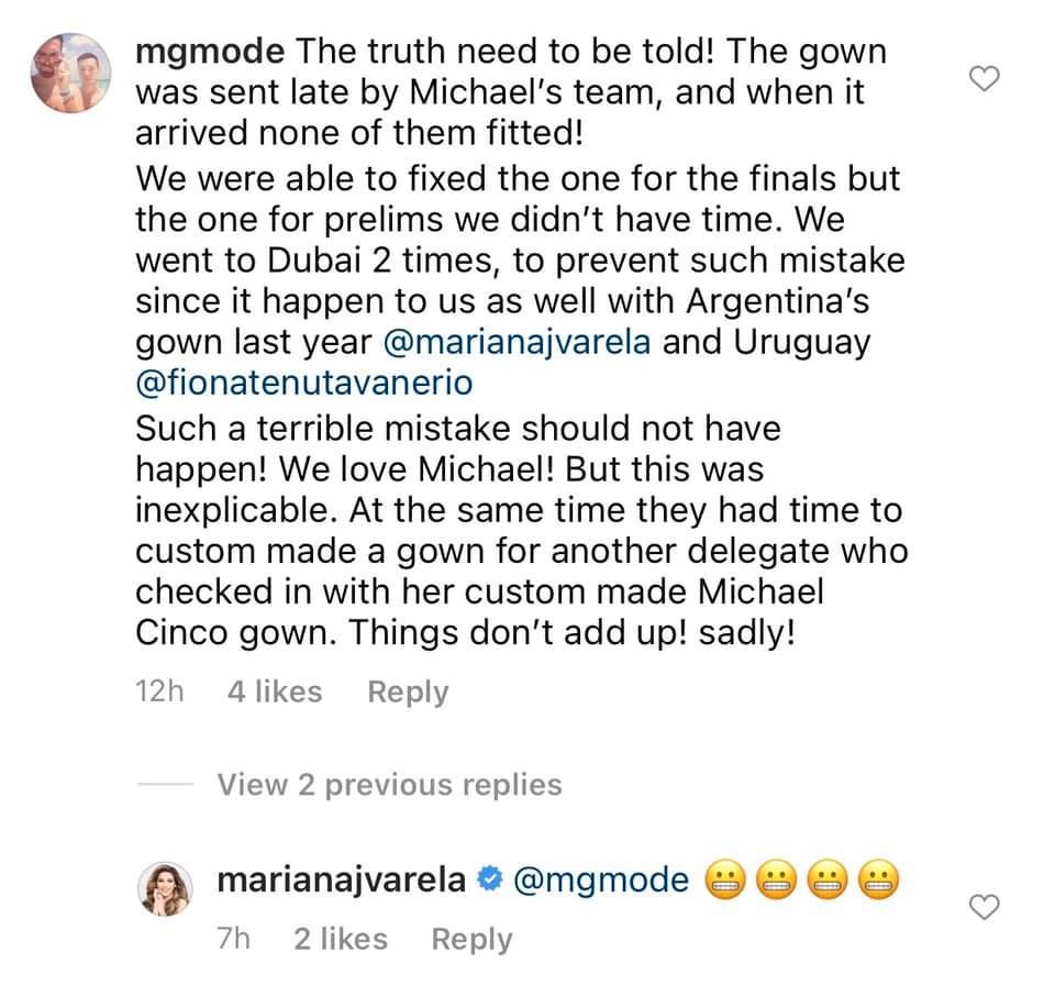 An instagram user, mgmode, accuses MIchael Cinco of sabotaging Miss Universe Canada's bid for the Crown.