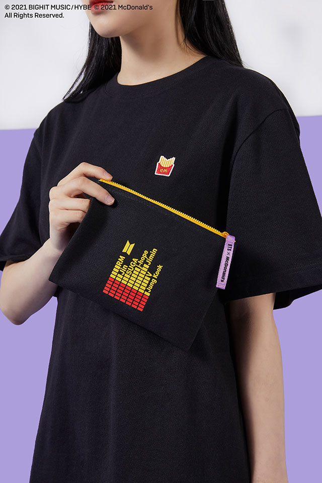 BTS x McDonald's Merch Collection French Fries pouch and shirt
